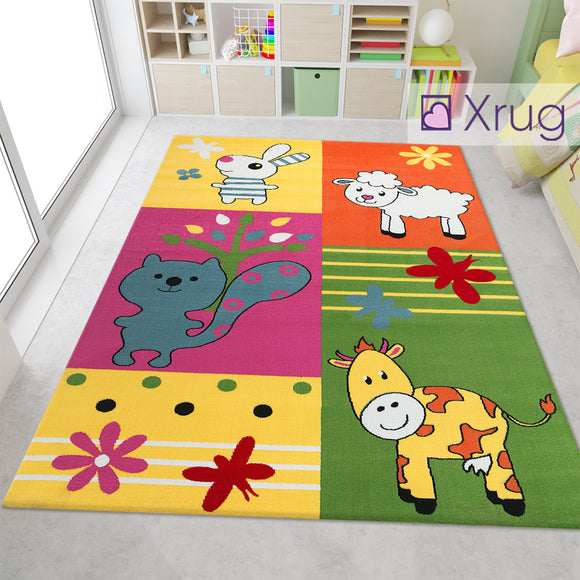 Kids Animal Bunny Lamb Squirrel Calf Cow Rugs Yellow Green Orange Purple Multi Kids Floor Carpet Play Room Mat Small Large Childrens Bedroom Floor Nursery Baby Girls Boys Unisex Polypropylene Heatset Colourful