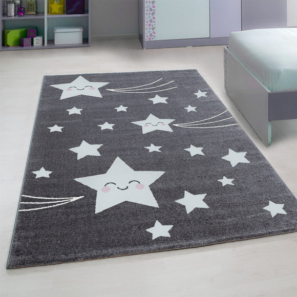 Childrens Grey Rug Kids Star Nursery Play Mat Small Large Baby Floor Carpet New