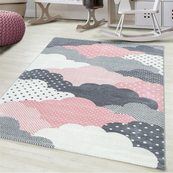 Kids Rug Grey Pink Cream White Clouds Pattern Childrens Bedroom Play Room Floor Mat Baby Nursery Girls Boys Unisex Stars Carpet Small Large 120x170 160x230 80x150 120 160 Round Polypropylene Friese Short Low Pile