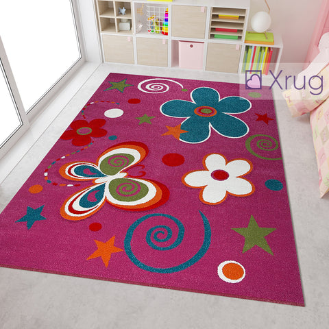 Childrens Rug Floral Multicoloured Dark Pink Contour Cut Hand Carved Pattern Mat Kids Butterfly Bedroom Playroom Floor Carpet Girls Boys Unisex Baby Nursery