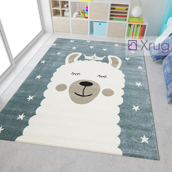 Childrens Rug Grey White Cream Lama Pattern Modern Kids Nursery Mat Play Bedroom Carpet Girls Boys Unisex