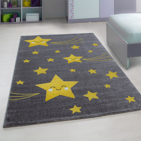 Childrens Star Rug Grey and Yellow Circle Nursery Carpet Modern Kids Bedroom Mat