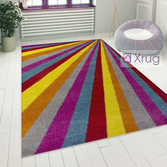 Colourful Rug Modern Striped Pattern Low Pile Mat Small Large Living Room Carpet