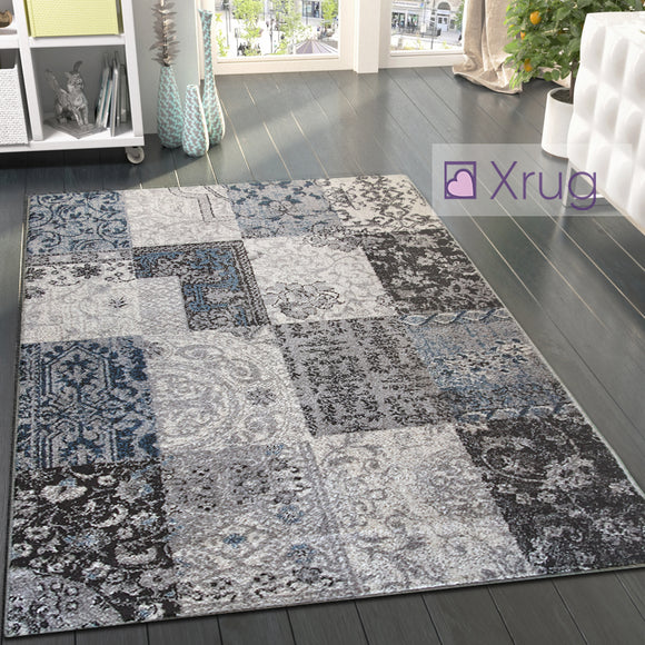 Oriental Rug Grey Blue Patchwork Pattern Mat Small Large Room Floor Check Carpet