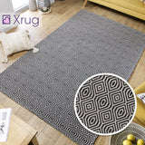 Flat Weave Rug Black Grey 100% Cotton Washable Woven Carpet Natural Floor Mat