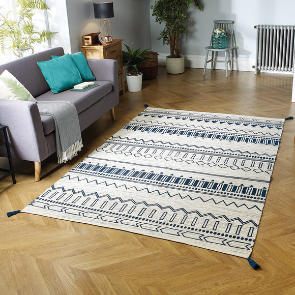 Hand Woven Cotton Rug Cream Navy Blue Carpet with Tassels Moroccan Nomad Berber Pattern Living Room Bedroom Natural Mat