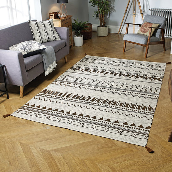 Hand Woven Rug 100% Cotton Cream Brown Carpet with Tassels Moroccan Nomad Berber Living Room Bedroom Carpet Mat