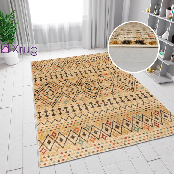 Cream Natural Rug Berber Checkered Multi Pattern Traditional Woven Small Large Carpet Mat Living Room Bedroom Area Floor New Mat 120X170 160X230