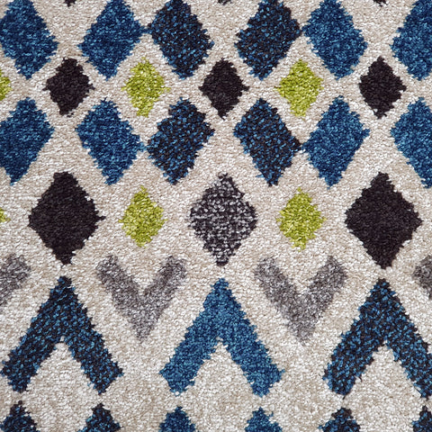 Modern Rugs Cream Ivory Green Blue Mustard Geometric Diamond Abstract Patterned Carpet Small Large Area Mat Woven Friese Soft Polypropylene Living Dining Room Bedroom Lounge Runner Hallway 70x140 70x240 120x170 160x220 New