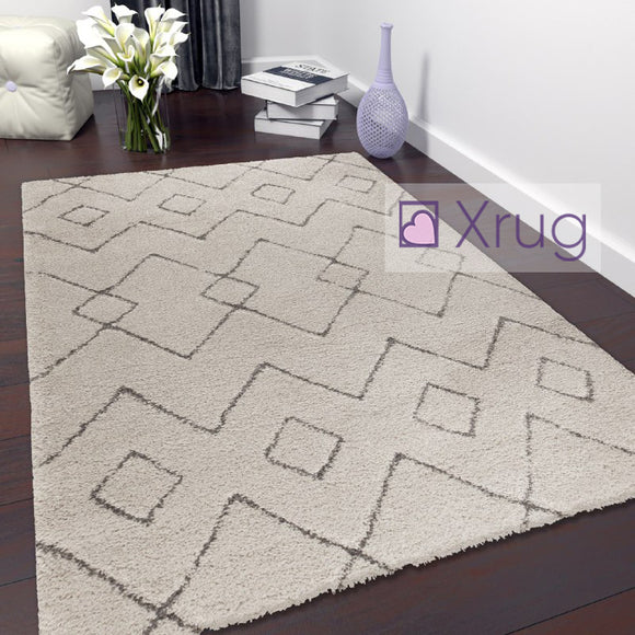 Cream Rug Short Pile Modern Pattern Woven Carpet Small X Large Bedroom Floor Mat