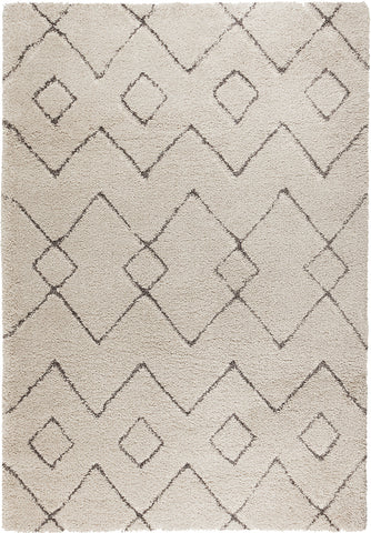 Cream White Rug Aztec Pattern Thick Pile Carpet Modern Geometric Room Area Mat