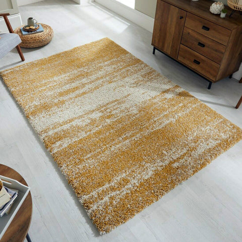 Yellow Fluffy Rug Ochre Cream Shaggy Carpet Thick Soft Ombre Living Room Mat New
