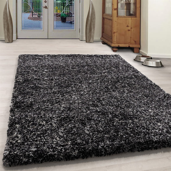 Dark Grey Black Rug Anthracite Modern Shaggy Carpet Soft Deep Long High Pile Fluffy Runner Living Room Bedroom Area Lounge Small X Large Runner Hallway Floor Mat