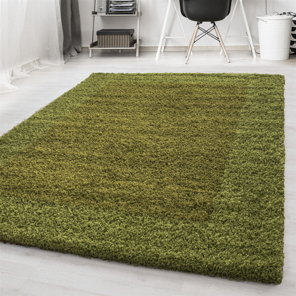 Deep Pile Shaggy Rug Green Fluffy Bedroom Floor Carpet Small X Large Lounge Mats