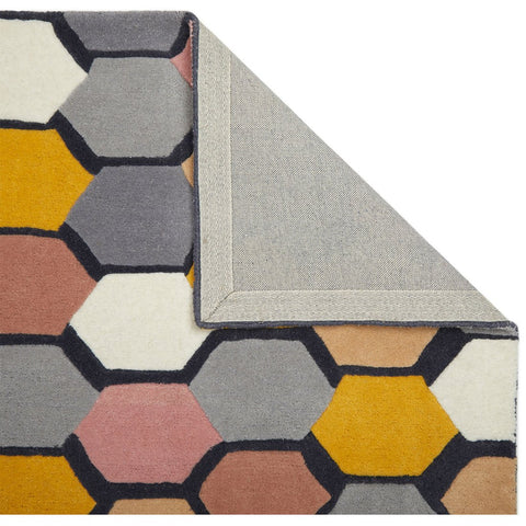 Multicoloured Geometric Rug Grey Pink Yellow White for Living Room Bedroom Natural Carpet Mat