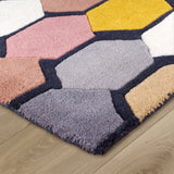 Wool Rug Modern Multicoloured Grey Pink Yellow Geometic Contour Cut Pattern Thick Heavy Rug Carpet