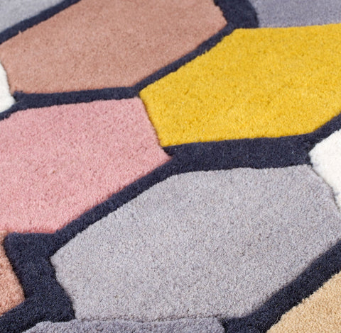 Thick Wool Rug Mulitcoloured Bright Heavy Carpet Modern Geometric Design Rugs for Living Room Bedroom