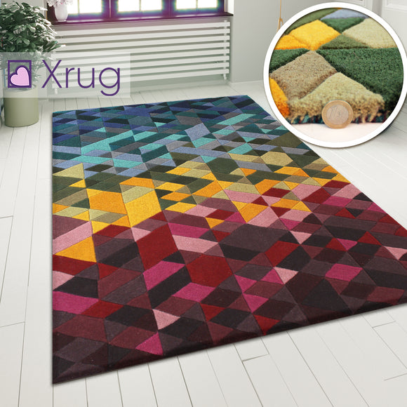 Designer Wool Rug Modern Multi Coloured Geometric Pattern Carpet Mat Bedroom Mat
