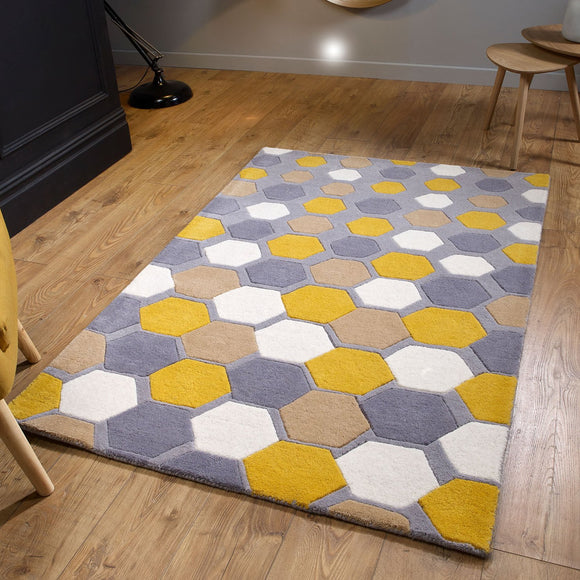 Grey Yellow Rug 100% Wool Heavy Thick Hand Tufdted Rugs with Contour Cut Pattern Natural Carpet Area Mat for Living Room Bedroom