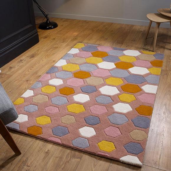 Mulitcoloured Rug 100% Wool Hand Tufted Carpet Pink Grey Geometric Hand Carved Pattern Heavy Thick Living Room Bedroom Area Mat