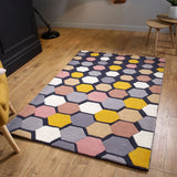Diamond Rug 100% Wool Heavy Thick Hand Tufdted Rugs with Grey Pink Yellow Multicoloured Contour Cut Pattern Natural Carpet Area Mat