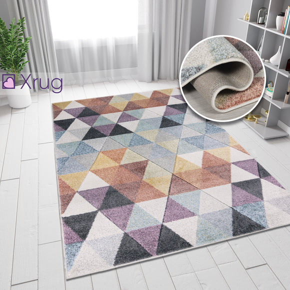 Geometric Diamond Rug Multi Colour Pastel Hand Carved Pattern Small Large Woven Hallway Runner Carpet Mat Living Room Bedroom Area Floor New Mat 60x230 120X170 160X230