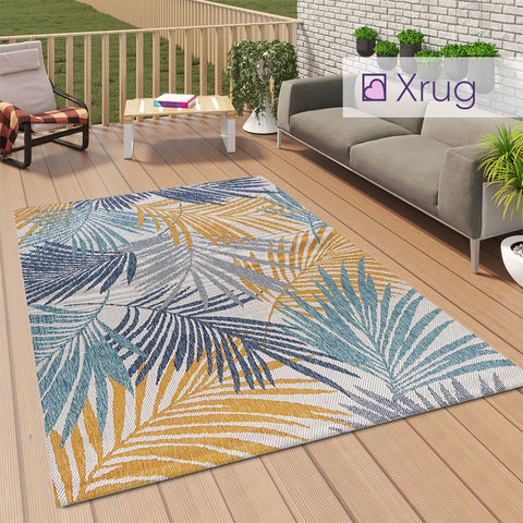 Outdoor Carpet Rug Plastic Yellow Blue Floral Palm Design Large Flatweave Runner