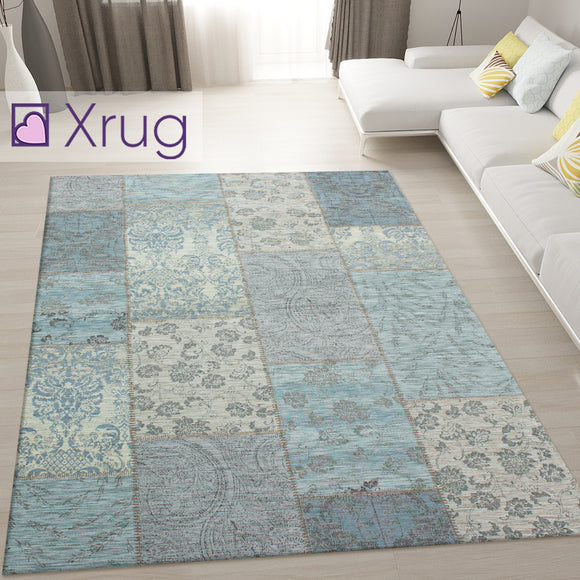 Duck Egg Blue Rug Modern Design Patchwork Chenille Rugs Mat Bedroom Area Carpet Checkered Geometric Living Room Floor Acrylic