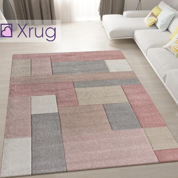 Dusky Pink Rug Hand Carved Pattern Mat Modern Geometric Carpet for Living Room