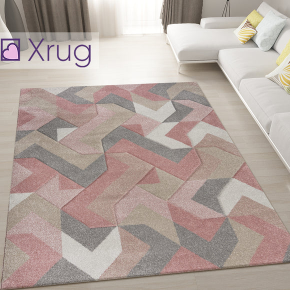 Dusky Pink Rug Hand Carved Pattern Modern Abstract Carpet Small Large Room Mat