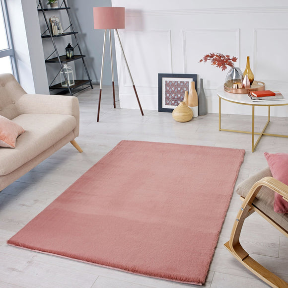 Dusky Pink Rug Super Soft Plain Living Room Bedroom Carpet Short Pile Area Mat