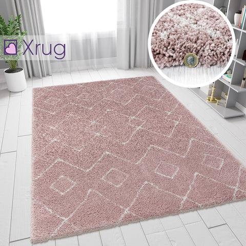 Dusky Pink Rug Thick Pile Carpet Aztec Pattern Modern Living Room Lounge Mat New
