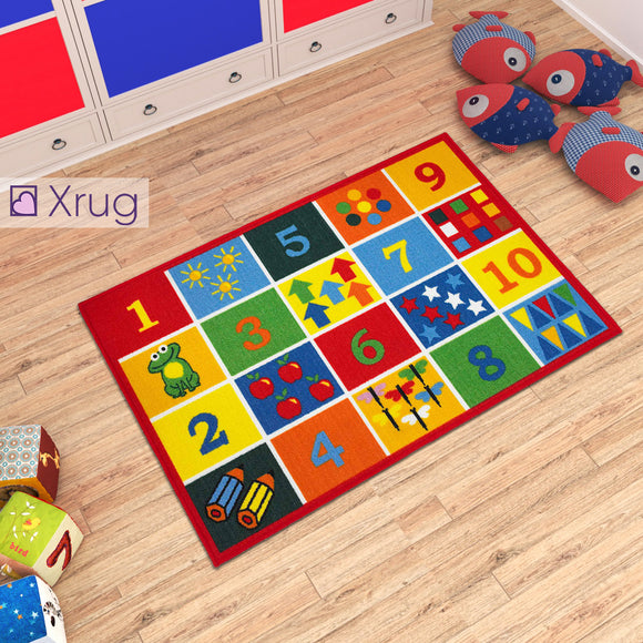Kids Rug Educational NON SLIP MACHINE WASHABLE Numbers Nursery Play Mat for Bedroom Playroom 80x120cm