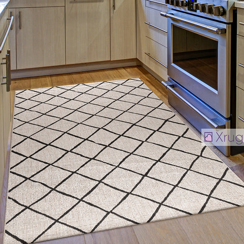 Flat Weave Kitchen Rug Grey Black Checkered Pattern Mats Hard Wearing New Carpet