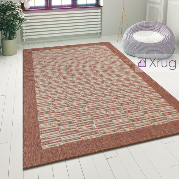 Flat Woven Rug Rust Modern Pattern Sisal Look Mat Hard Wearing Area Hall Carpet