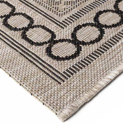 Flat Woven Rugs Grey Black Kitchen Carpet Trellis Pattern Hard Wearing Floor Mat