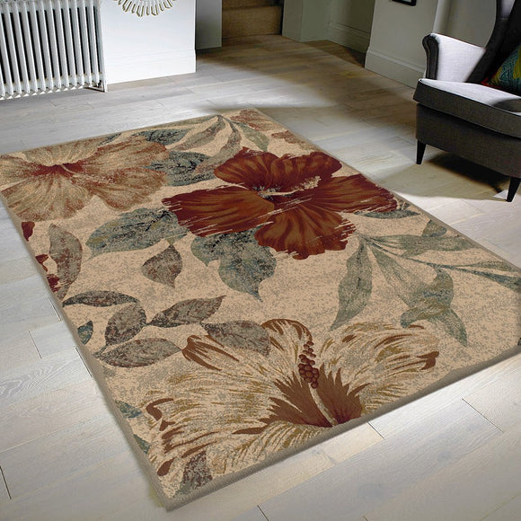 Beige Floral Rug Distressed Vintage Design Large Small Runner Modern Rug for Living Room Bedroom