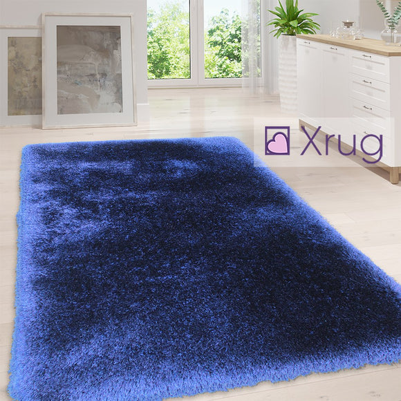 Fluffy Rug Plain Indigo Long Pile Shaggy Mat Small Large Modern Bedroom Carpet