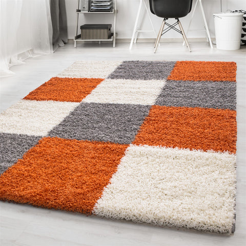 Fluffy Shaggy Rug Terracotta Grey Cream Modern Pattern Mat Bedroom Runner Carpet