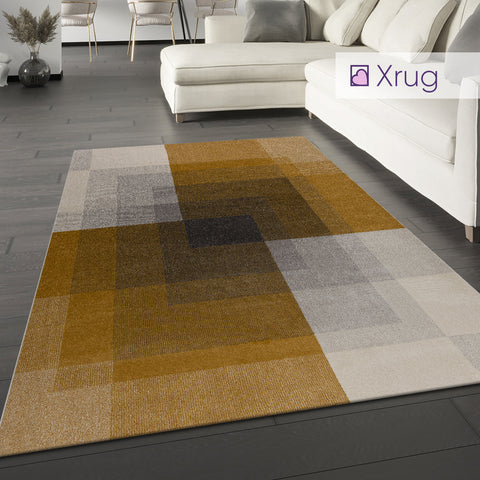Grey and Ochre Rug Modern Yellow Geometric Large Small Abstract Room Runner Mat