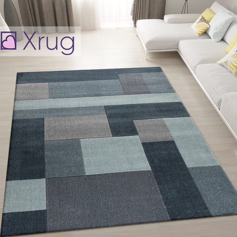 Geometric Rug Denim Blue Hand Carved Modern Pattern Mat Living Room Floor Carpet