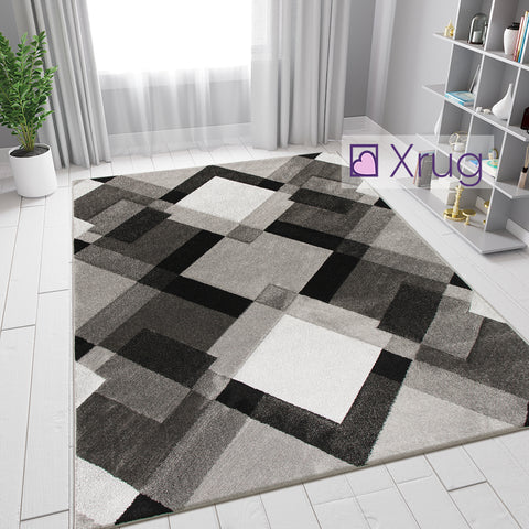 Geometric Rug Grey Black Contour Cut Modern Pattern Mat Small Large Floor Carpet