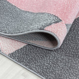 Grey Pink Rug Modern Designer Abstract Geometric Patterned Small X Large Room Runner Hallway Carpet Living Room Bedroom Area Lounge Mats Woven Polypropylene Heatset Short Low Pile 120x170 200x290 160x230 80x150