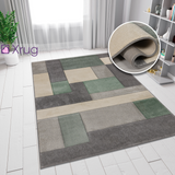 Geometric Rug Mint Green Grey Carpet Hand Carved Checkered Pattern Small Extra Large Living Room Bedroom Area Floor New Mat 80X150 120X170 160X230 200X290