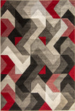 Geometric Rug Red and Grey Modern Hand Carved Pattern Mat Living Room Carpet New