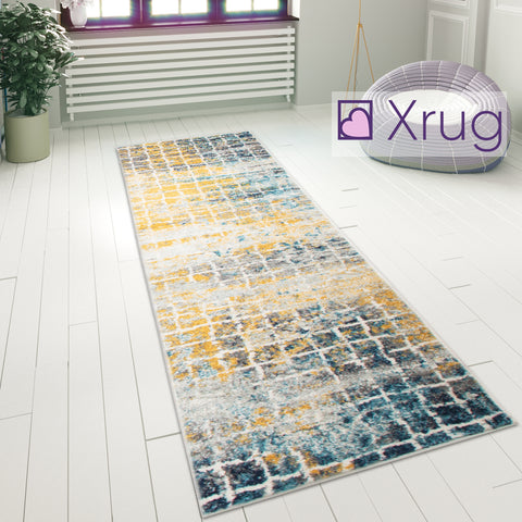 Yellow Grey Blue Black Rug Carpet Mat Living Room Dining Bedroom Area Lounge Floor Hall Runner Small Large New Contemporary Modern Designer Geometric Checkered Pattern Polypropylene Woven Short Low Pile Rectangle Size 100x150 133x185 200x275 60x220