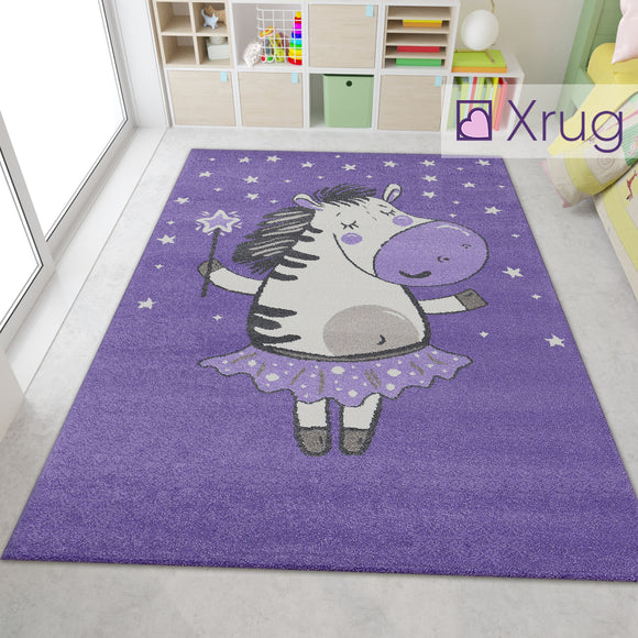 Nursery Rug Purple Cream White Kids Bedroom Carpet Mat Fairy Zebra Childrens Play Room Rugs Small Large Baby Girls Boys Unisex Abstract Polypropylene Short Pile