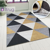 Grey Black Gold Yellow Rug Geometric Diamond Pattern Living Room Woven Rugs Mats