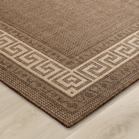 Kitchen Brown Rug Flat Weave Non Slip Heavy Duty Hard Wearing Woven Carpet Modern Greek Key Pattern Bordered Geometric Pattern Small Large Hall Runner Polypropylene Mat 60x110 60x180 60x230 80x150 120x160 160x225