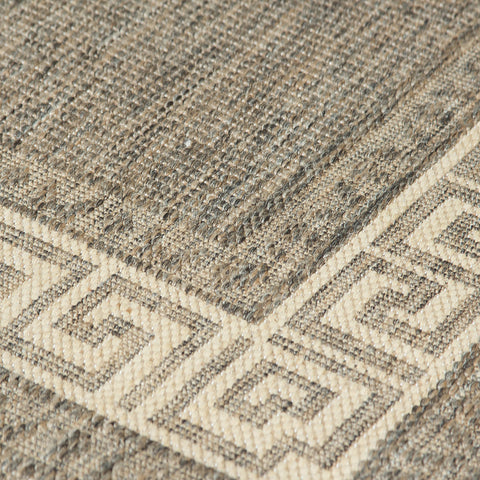 Kitchen Grey Rug Flat Weave Non Slip Heavy Duty Hard Wearing Woven Carpet Modern Greek Key Pattern Bordered Geometric Pattern Small Large Hall Runner Polypropylene Mat 60x110 60x180 60x230 80x150 120x160 160x225